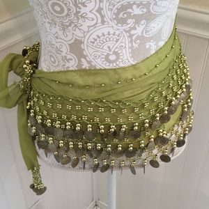 Two jingly coins belly dance scarves.